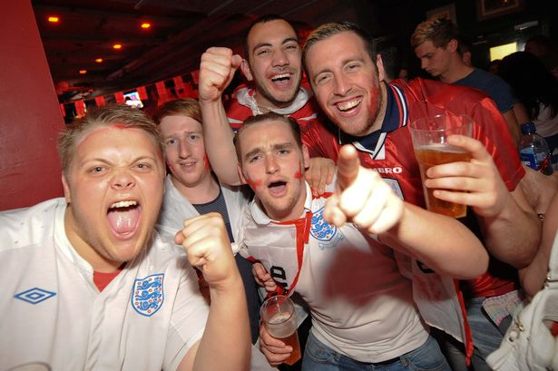England-fans-gather-at-the-Walkabout-pub-on-Broad-Street-Birmingham-to-watch-Englands-opening-World-Cup-fixture-against