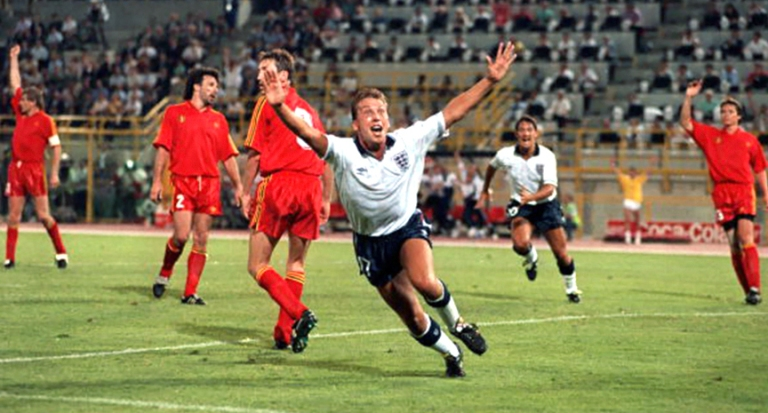 Football, 1990 World Cup Second Round, Bologna, Italy, 26th June 1990, England 1 v Belgium 0 aet, England's David Platt celebrates after scoring the winning goal
